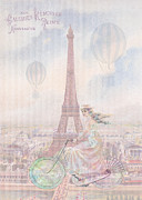 Bicycle Collage Prints - Bicycling through Paris Print by Sarah Vernon