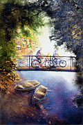 Tandem Bicycle Framed Prints - Bicyclist on a bridge Framed Print by Jim Bates
