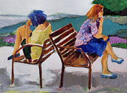 Park Benches Paintings - Biding Time by Diane Ursin