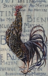 Rooster Kitchen Art Prints - Bienvenue Au Matin plaque Print by Callie Smith