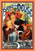 Flowers In Her Hair Framed Prints - Bieres de le Meuse Framed Print by Alphonse Maria Mucha