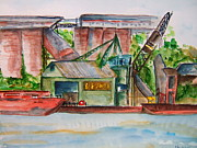 Ohio River Painting Posters - Big Andy Terminal on Ohio River Poster by Elaine Duras