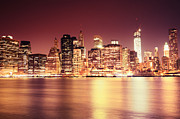 Skylines Framed Prints - Big Apple - Night Skyline - New York City Framed Print by Vivienne Gucwa