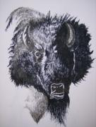 Indian Tribal Art Drawings - Big Bad Buffalo by Leslie Manley