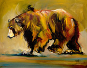 Bear Art Paintings - Big Bear Walking by Diane Whitehead
