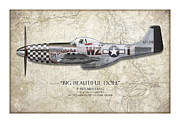 Silver Digital Art Prints - Big Beautiful Doll P-51D Mustang - Map Background Print by Craig Tinder