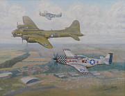 Mustang Paintings - Big Beautiful Dolls Farewell  by Elaine Jones