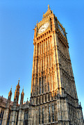 Limestone Carvings Posters - Big Ben and Blue Sky Poster by Deborah Smolinske
