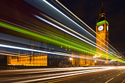 Adam Framed Prints - Big Ben and Bus Blur Framed Print by Adam Pender