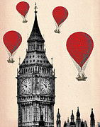 Wall Decor Greeting Cards Prints - Big Ben And Red Hot Air Balloons Print by Kelly McLaughlan