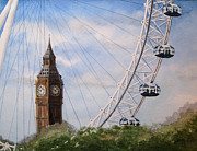 New Britain Painting Posters - Big Ben and the London Eye Poster by Diane Marcotte