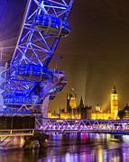 London At Night Framed Prints - Big Ben and the London Eye Framed Print by Ian Hufton