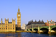 Clock Tower Photos - Big Ben and Westminster bridge by Elena Elisseeva