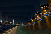 London Art - Big Ben at Night Water Scene by Karl Wilson