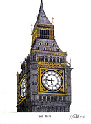 Buildings Drawings Drawings Framed Prints - Big Ben Framed Print by Frederic Kohli