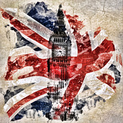 Building Mixed Media Posters - Big Ben Poster by Mo T