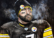 Michael Pattison Posters - Big Ben Roethlisberger  Poster by Michael  Pattison