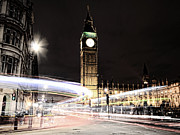 Traffic Tapestries Textiles Prints - Big Ben with Light Trails Print by Jasna Buncic