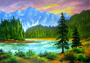 Serenity Landscapes Paintings - Big  Bend  by Shasta Eone