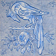 Netherlands Paintings - Big Bird Delft blue by Raymond Van den Berg