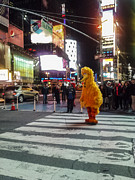 Night Out Framed Prints - Big Bird on Times Square Framed Print by Scott Campbell