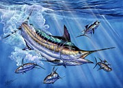 Blue Marlin Painting Prints - Big Blue And Tuna Print by Terry Fox