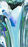 Seafoam Abstract Posters - Big Blue Flower Poster by Jamie Frier