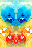 Enigma Prints - Big Blue Love - Visionary Art By Sharon Cummings Print by Sharon Cummings