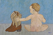 Infants Paintings - Big Boots to Fill by Ella Kaye