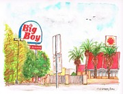 Fast Food Painting Framed Prints - Big-Boy-Coffee-Shop-in-Barstow-CA Framed Print by Carlos G Groppa