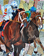 Kentucky Derby Mixed Media Prints - Big Brown Gaining Print by Michael Lee