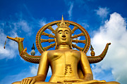 Golden Digital Art Prints - Big Buddha Print by Adrian Evans