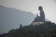 Bronze Framed Prints - Big Buddha in Hong Kong Framed Print by Lars Ruecker