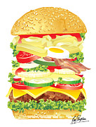 Burger Digital Art Prints - Big Burger Print by Ray Simpson