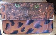 Artist Tapestries - Textiles Originals - Big Cat Vintage Purse by Heather Grieb