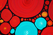 Homes Mixed Media Prints - Big Circles - Abstract Art By Sharon Cummings Print by Sharon Cummings