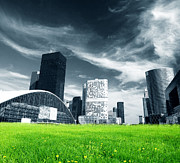 Offices Art - Big city and green fresh meadow by Michal Bednarek