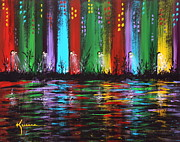 Night Lamp Paintings - Big City by Kume Bryant