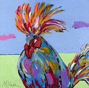 Colorful Rooster Framed Prints - Big Duke II Framed Print by Tracy Miller