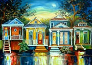 Houses Framed Prints - Big Easy Moon Framed Print by Diane Millsap