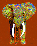 Tusk Digital Art Prints - Big Elephant 20130201p20 Print by Wingsdomain Art and Photography
