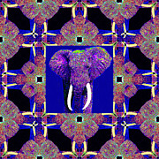 Whimsical Animals  Art - Big Elephant Abstract Window 20130201m118 by Wingsdomain Art and Photography