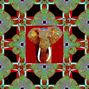 Whimsical Animals  Art - Big Elephant Abstract Window 20130201p0 by Wingsdomain Art and Photography