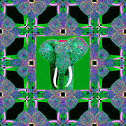 Tusk Digital Art Prints - Big Elephant Abstract Window 20130201p128 Print by Wingsdomain Art and Photography