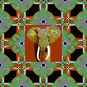 Tusk Prints - Big Elephant Abstract Window 20130201p20 Print by Wingsdomain Art and Photography