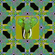 Tusk Prints - Big Elephant Abstract Window 20130201p60 Print by Wingsdomain Art and Photography