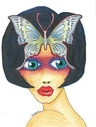 Skinny Drawings Prints - Big Eye Girl Print by Tracy Fitzgerald