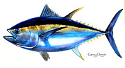 Animals Tapestries Textiles Originals - Big Eye Tuna by Carey Chen