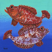 Hawaiian Fish Paintings - Big Eyes and Bubbles by Linda Peterson