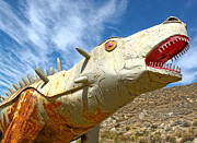 Outdoor Metal Sculpture Art - Big Fake Dinosaur - 02 by Gregory Dyer